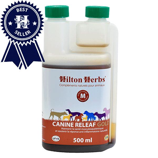 Un flacon de Canine Releaf Gold de Hilton Herbs