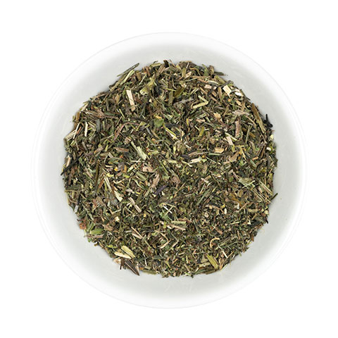 Cleaver cut herb in dish
